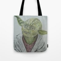yoda Tote Bags featuring Yoda by nosila.art