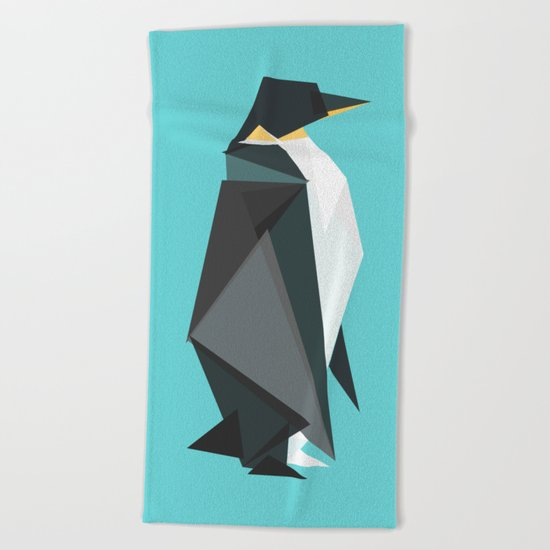 Fractal geometric emperor penguin Beach Towel