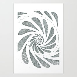 Spiral black ink on paper Art Print