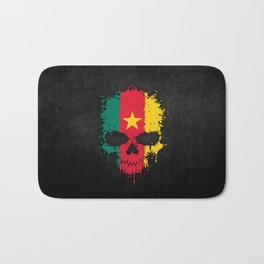 Flag of Cameroon on a Chaotic Splatter Skull Bath Mat
