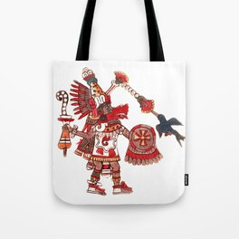 Dancing Aztec shaman warrior Tote Bag