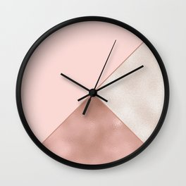 Luxury Glamorous Rose Gold Metallic Glitter Wall Clock