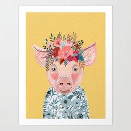 Piglet with flower crown Art Print