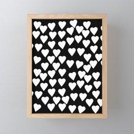 Hearts White on Black Framed Mini Art Print