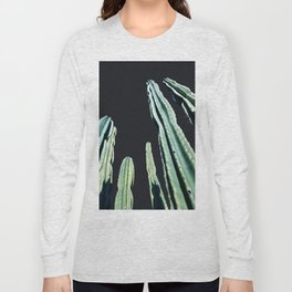 Green Cactus 8 at Night Long Sleeve T-shirt