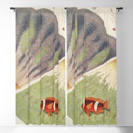 Vintage Great Barrier Reef and Clown Fish Illustration Blackout Curtain