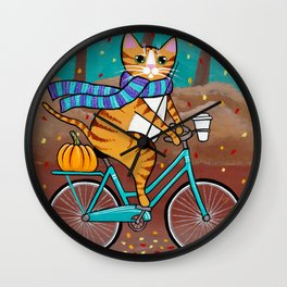 Autumn Fat Cat Bicycle Ride Wall Clock