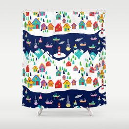 Scandinavian Rainbow Village and Fishing boats in the Fjord Shower Curtain