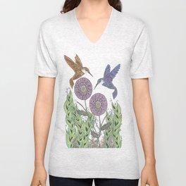 Graceful Humming Birds Color Unisex V-Neck