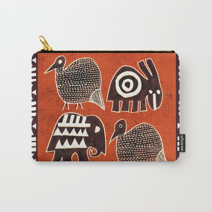 African Animal Folk Art Carry-All Pouch