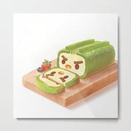 Matcha Cake Roll Metal Print