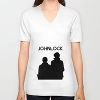 johnlock V-neck T-shirts featuring Johnlock by lori