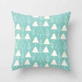 Christmas Tree Blue Throw Pillow