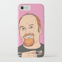 louis ck iPhone & iPod Cases featuring Louis CK With Sushi by Jason Adams