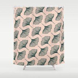 Diagonal Gingko Leaves Shower Curtain