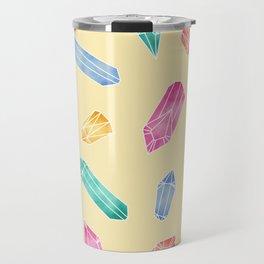 Crystals pattern - Yellow Travel Mug