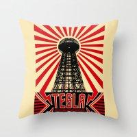tesla Throw Pillows featuring Tesla by Octavia Soldani