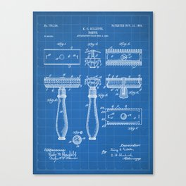 Razor Patent - Barber Art - Blueprint Canvas Print