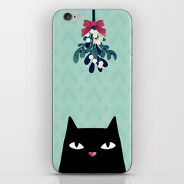 Mistletoe? (Black Cat) iPhone Skin