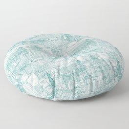 Edinburgh toile teal white Floor Pillow