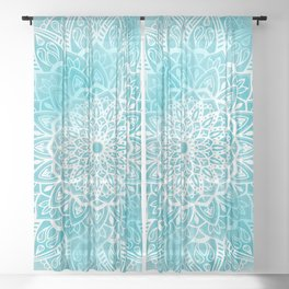 Blue Sky Mandala in Turquoise Blue and White Sheer Curtain