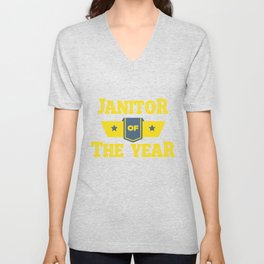 Janitor Of The Year Cleaners Janitors Cleaning Gift Unisex V-Neck