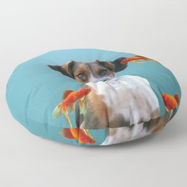 Jack Russel Dog with Goldfishes Floor Pillow