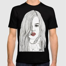 Georgia with Red Lips Black MEDIUM Mens Fitted Tee