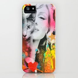 Marilyn and Cat iPhone Case