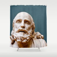 philosophy Shower Curtains featuring Philosophy of Pleasure by youngkinderhook