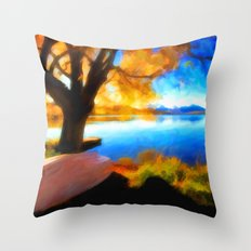Peaceful Lake - Painting Style Throw Pillow