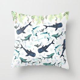 floral shark pattern Throw Pillow