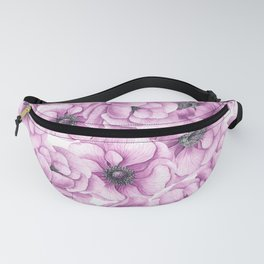 Anemone flowers watercolor pattern Fanny Pack