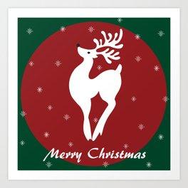 Merry Christmas reindeer Art Print