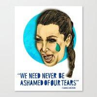 kim kardashian Canvas Prints featuring Ugly Cry: Kim Kardashian Edition.  by Amelia Jude