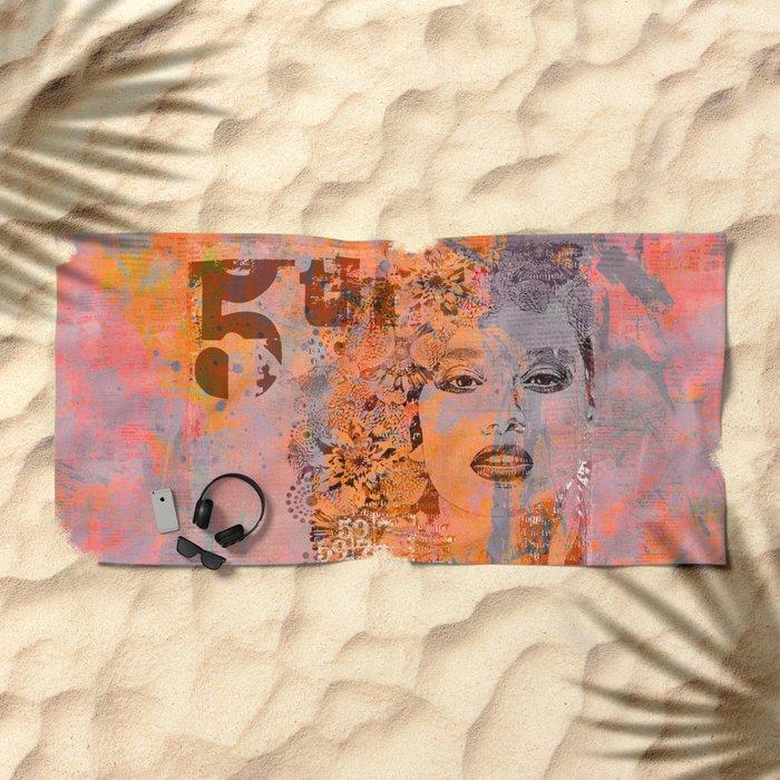 Wild Woman modern face mixed media art orange Beach Towel