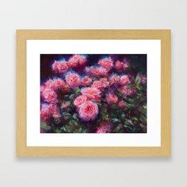 Out of Dust, impressionist pink roses Framed Art Print