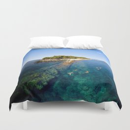 Swimming off Île Saint-Honorat near Cannes Duvet Cover