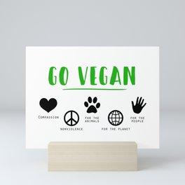 go vegan for animal rights activists Mini Art Print