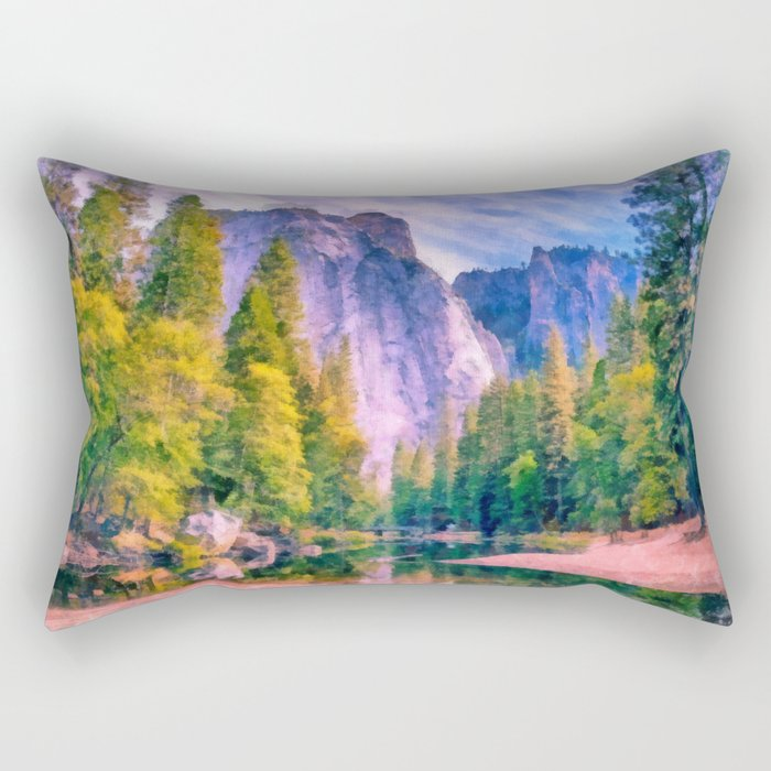 Mountain landscape with forest and river Rectangular Pillow