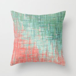 Mint Coral Abstract Throw Pillow