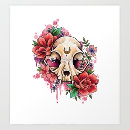 Neo Traditional Cat Skull and Roses Art Print
