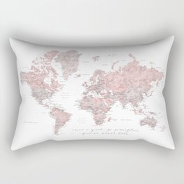 Detailed world map in dusty pink and grey, once a year.... Rectangular Pillow
