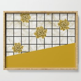 Succulents geometric composition - Yellow Lemon Curry Serving Tray