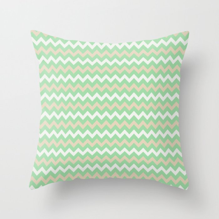 Pastel Green, Beige & Linen White Chevron Line Pattern Pairs to Noe Mint 2020 Color of the Year Throw Pillow