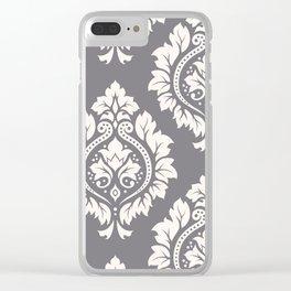 Decorative Damask Art I Cream on Grey Clear iPhone Case