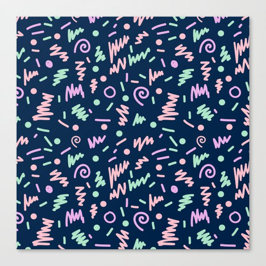 Zola - bright happy fun pattern navy blue pastel shapes charlotte winter Canvas Print