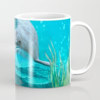 dolphin Mugs featuring Dolphin by Simone Gatterwe