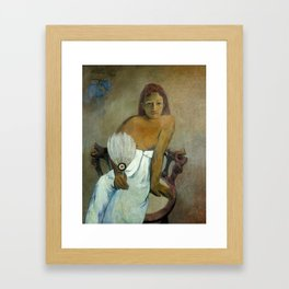 The Girl with a Fan by Paul Gauguin Framed Art Print