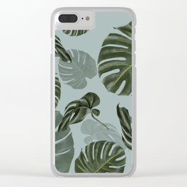 Monstera Urban Jungle pattern Clear iPhone Case